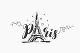 Fototapeta Fototapety z wieżą Eiffla - Vector hand drawn illustration of Paris famous building silhouette on white background.