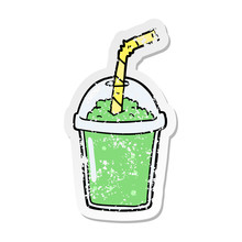 Distressed Sticker Of A Cartoon Iced Smoothie