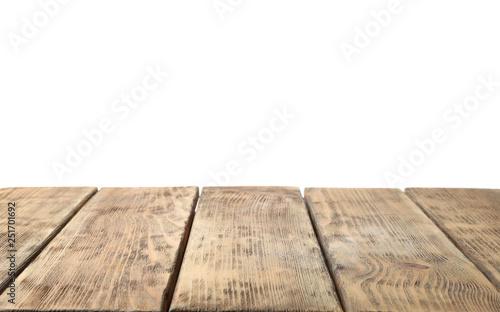 Valokuvatapetti Empty wooden surface against white background. Mockup for design