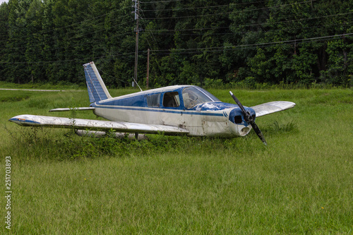 Fotografie, Obraz  Abandoned blue and white single prop plane in green grass field