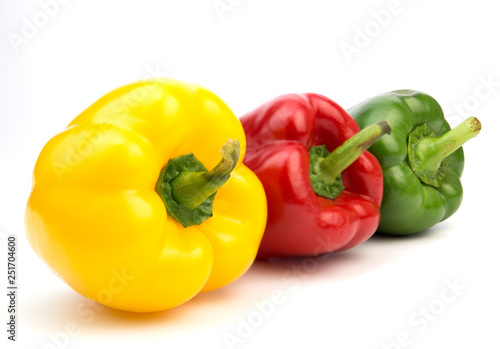 Fototapeta Yellow, red, green, fresh bell pepper isolated on white background  obraz