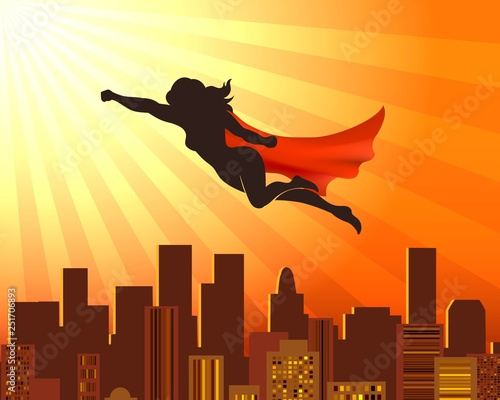 Flying girl superhero Canvas Print