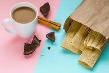 Colorful Composition With Sweet Tamales, Hot Chocolate And Cinnamon. Pop Art Design.