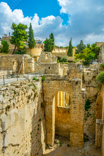 Photo  Ruins of pools of Bethesda in Jerusalem, Israel