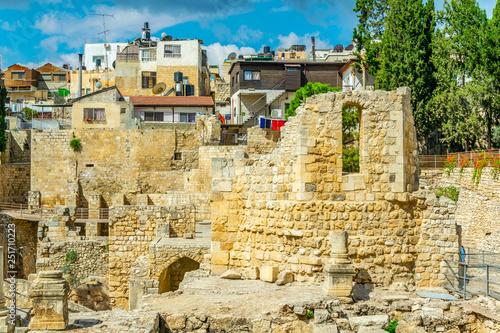 Ruins of pools of Bethesda in Jerusalem, Israel Wallpaper Mural
