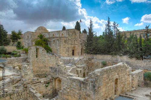 Платно Ruins of pools of Bethesda in Jerusalem, Israel