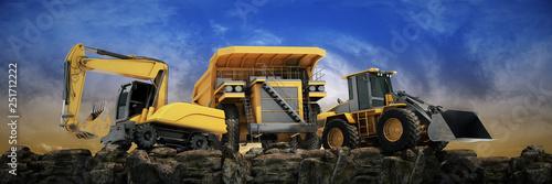 Obraz Vehicle construction at sunset. 3d rendering - fototapety do salonu