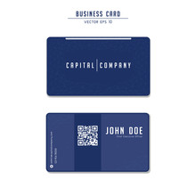Capital Company Blue Modern Tech Business Card Template Design With Qr Code With Low Poly Network Line Illustration