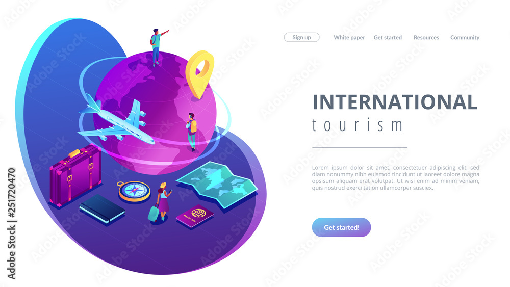 Fototapety, obrazy: Global travelling isometric 3D landing page.