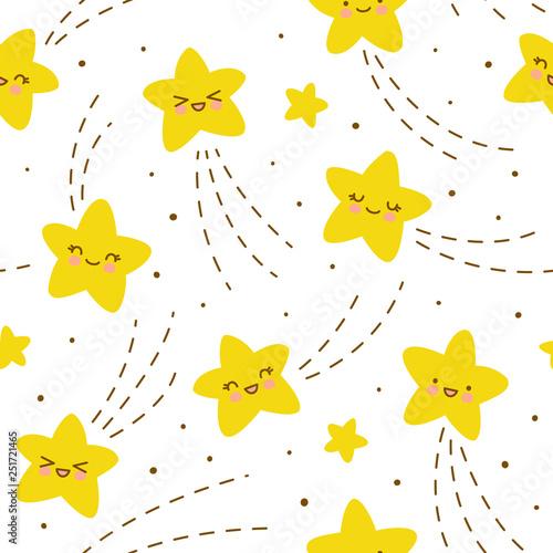 Fototapeten Künstlich Seamless pattern with kawaii stars