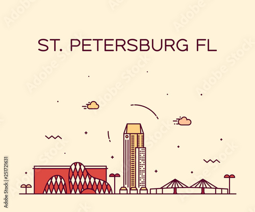 St Petersburg skyline Pinellas Florida USA vector Wallpaper Mural
