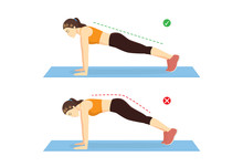 Woman Doing Correct Full Plank Exercise Position And Wrong For Compare On Blue Mat. Illustration About Workout Guide.