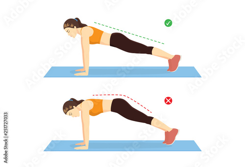 Obraz Woman doing correct full plank exercise position and wrong for compare on blue mat. Illustration about workout guide.  - fototapety do salonu