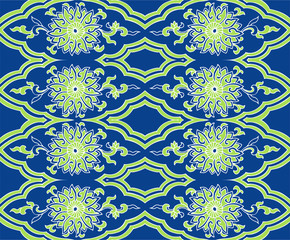 Seamless oriental asian floral pattern vector with flowers and leaves