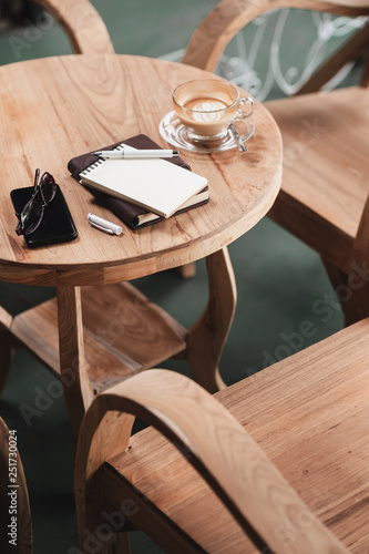 Fotografie, Obraz  Coffee cup on rustic wood table