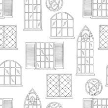 Windows Graphic Black White Seamless Pattern Background Sketch Illustration Vector