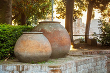 Large Antique Pots Near Of The...