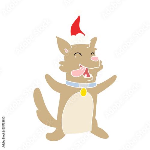 Poster de jardin Chambre bébé flat color illustration of a happy dog wearing santa hat