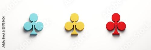Photo  Three Clover Poker Card Symbol. 3D Render Illustration