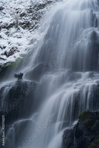 Close up details of waterfall flowing in winter