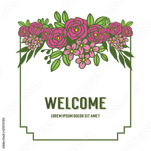 Vector illustration various styles of flower frames for write welcome hand drawn