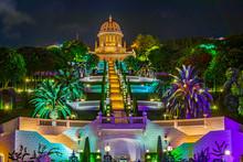Night View Of Bahai Gardens In Haifa, Israel