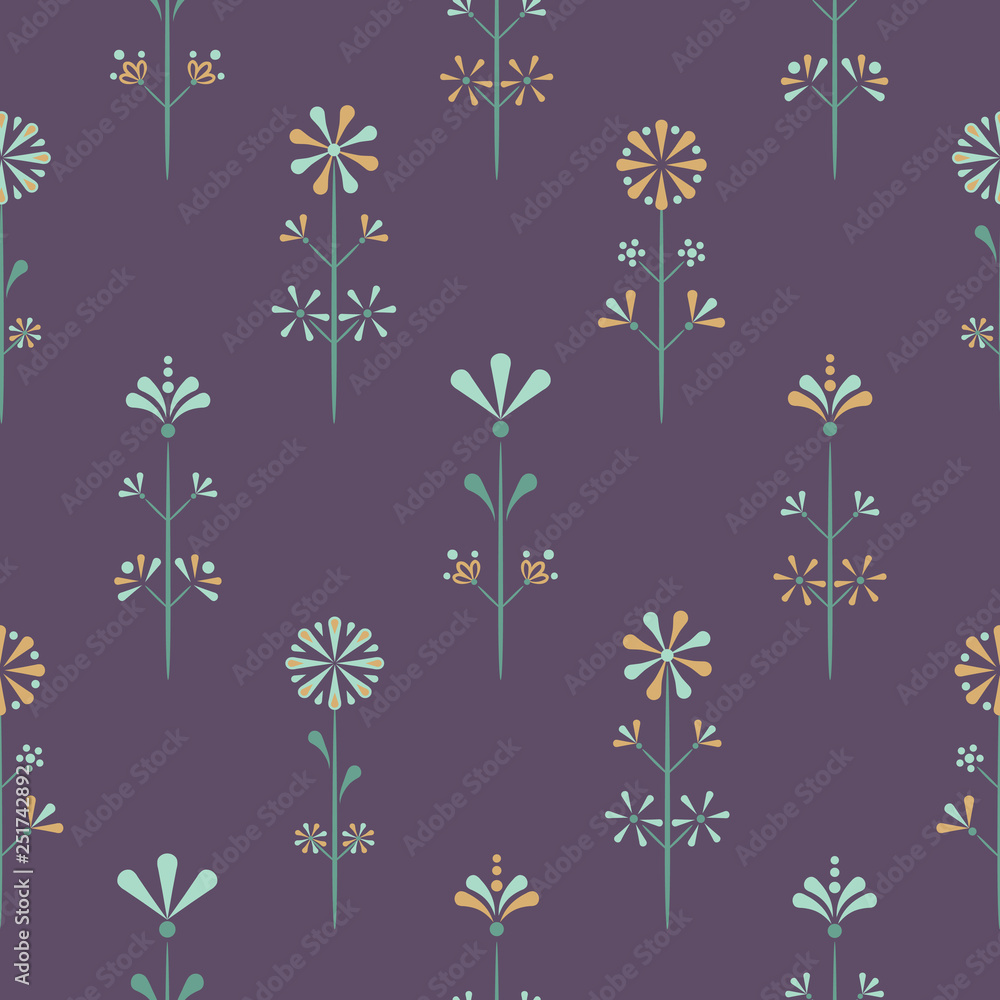 Vector Folklore Florals on purple seamless pattern background. Perfect for fabric, scrapbooking and wallpaper projects.
