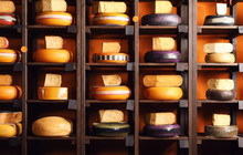 Assortment Of Tasty Cheese On Shelves In Store