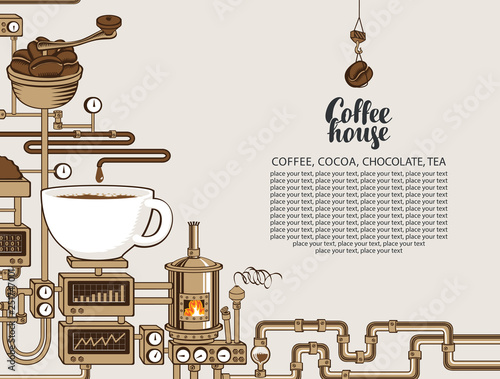 Valokuva Vector banner on coffee theme with a cup of freshly brewed drink, plant with conveyor coffee production, inscription Coffee House and place for text in retro style