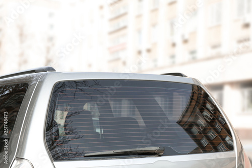 Fotografia Modern car with clean rear window outdoors