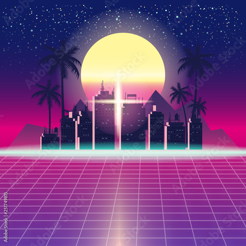 Fototapeta Synthwave Retro Futuristic Landscape With City Palms, Sun, Stars And Styled Laser Grid. Neon Retrowave Design And Elements Sci-fi 80s 90s Space. Vector Illustration Template Isolated Background obraz na płótnie