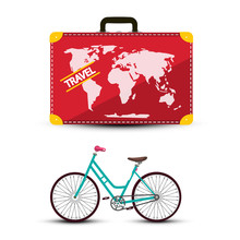 Travel Suitcase With Bicycle Isolated On White Background. Trip Around The World Vector Concept.