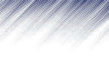 Abstract Blue Diagonal Halftone Texture On White Background With Copy Space. Dots Pattern.