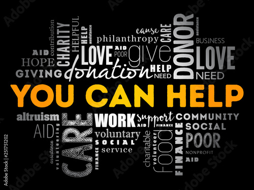 You can help word cloud collage, business concept background Canvas Print