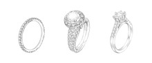Pencil Drawing Of Rings With P...