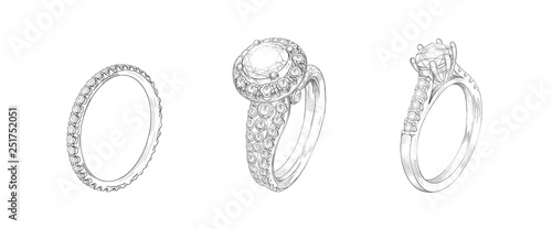 Photo Pencil drawing of rings with precious stones on a white background