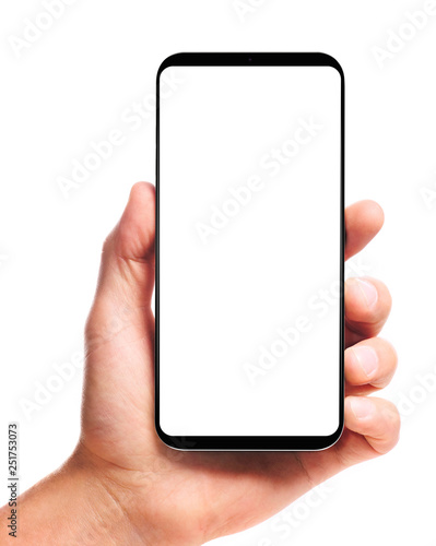 Fotografía  male hand holding bezel-less smartphone with blank screen, isolated on white background