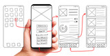 Fototapeta Uliczki - UI development. Male hand holding smartphone with wireframed user interface screen prototypes of a mobile application on white background.