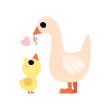 Mother Goose Feeding Her Gosli...