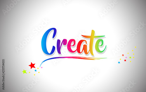 Create Handwritten Word Text with Rainbow Colors and Vibrant Swoosh Fototapeta