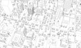 Wektor zarys miasta ulice skrzyżowania. Widok z góry budynków i ruchu drogowego. Szare linie zarys styl konturu tło. Miasto wysoko szczegółowe.