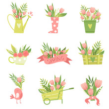 Bouquets Of Flowers In Vases And Pots Of Various Shapes Set, Hello Spring Floral Design Template Vector Illustration