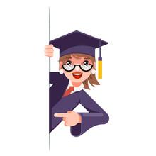 Graduate Girl Look Out Corner ...