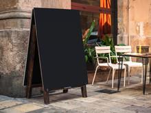 Mock Up Menu Signboard Blank Chalkboard Restaurant Street Cafe With Table Seats