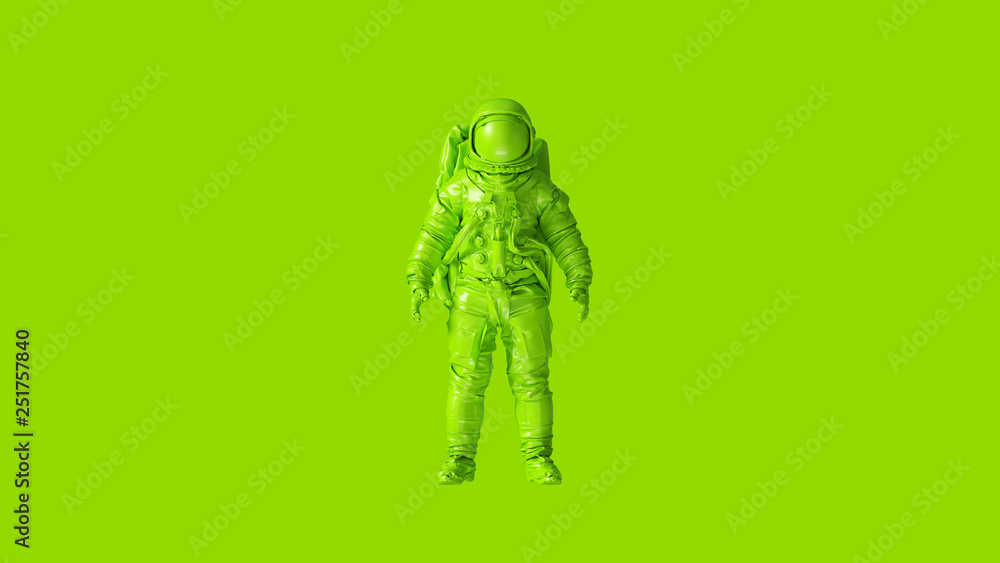 Fototapety, obrazy: Lime Green Spaceman Astronaut Cosmonaut 3d illustration 3d render