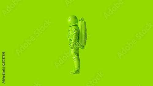 Photo  Lime Green Spaceman Astronaut Cosmonaut 3d illustration 3d render