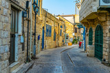 Fototapeta Uliczki - View of a narrow street in Tsfat/Safed, Israel