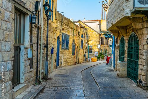 View of a narrow street in Tsfat/Safed, Israel Fototapeta