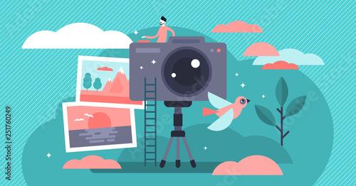 Foto auf Gartenposter Turkis Photographer vector illustration. Flat tiny camera picture person concept.