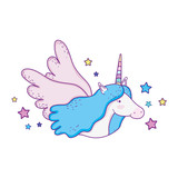 Fototapeta Dinusie - cute unicorn fairytale character